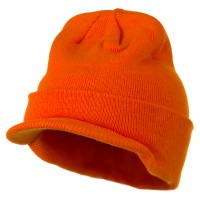 Beanie Visored - Orange Cuff Knitted Beanie Visor