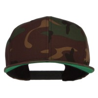 Ball Cap - Green Camo Flexfit Flat Bill Cap
