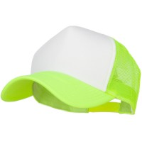 Ball Cap - Neon Yellow Cotton Big Size 5 Panel Mesh Cap