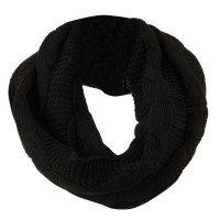Scarf, Shawl - Black Cable Round Neck Warmer