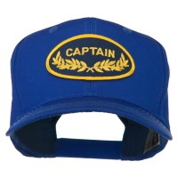 Embroidered Cap - Royal White Captain Oak Leaf Patched Cap | Coupon Free | e4Hats.com