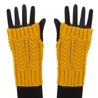 Warmer - Mustard Women's Chevron Weave Arm Warmer
