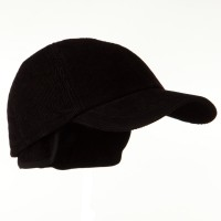 Ball Cap - Black Men's Corduroy Warmer Flap Cap