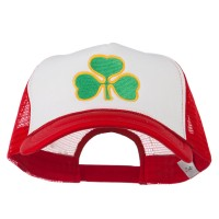 Embroidered Cap - White Red Clover St.Patrick's Day Big Size Cap