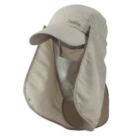 Flap Cap - Khaki UV 50+ Folding Bill Double Flap Cap