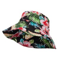 Bucket - Black Ladies Wide Brim Floral Hat