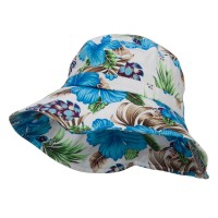 Bucket - Blue Ladies Wide Brim Floral Hat