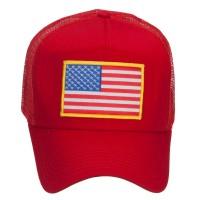 Embroidered Cap - Gold American Flag Patched Cap | Free Shipping | e4Hats.com