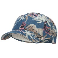 Ball Cap - Navy Denim Cotton Floral Print Cap