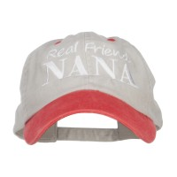 Embroidered Cap - Beige Red Real Friend Nana Embroidery Cap