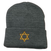 Beanie - Grey Star David Embroidered Long Beanie | Coupon Free | e4Hats.com
