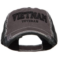 Embroidered Cap - Charcoal 3D Vietnam Veteran Embroidered Cap