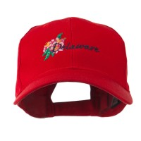 Embroidered Cap - Red Delaware Flower Embroidered Cap