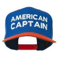 Embroidered Cap - Royal Orange American Captain Snapback Cap