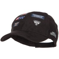 Ball Cap - Black Suede Baseball Cap with 7 Labels