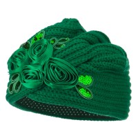 Wrap - Emerald Flower Sequins Knit Turban