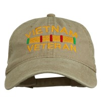 Embroidered Cap - Khaki Vietnam Embroidered Brass Cap