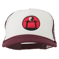 Embroidered Cap - Maroon White Yin Yang Embroidered Foam Cap | Coupon Free | e4Hats.com
