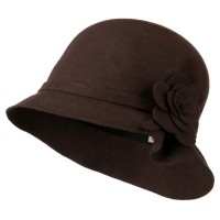 Bucket - Brown Wool Flower Crushable Hat