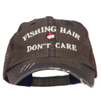 Embroidered Cap - Fishing Hair Don't Care Mesh Cap | Free Shipping | e4Hats.com