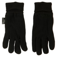 Glove - Black Fleece Glove with Knitted Sides