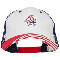 Embroidered Cap - White 4th of July Embroidered Flag Cap