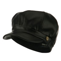 Newsboy - Black Faux Leather Spitfire Hat