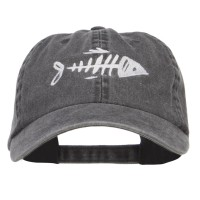 Embroidered Cap - Fish Bone Embroidered Washed Cap