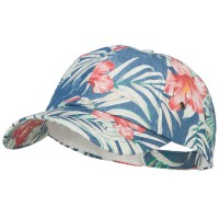 Ball Cap - Blue Floral Print Cotton Cap