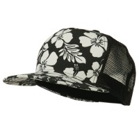 Ball Cap - Black Floral 5 Panel Mesh Trucker Cap