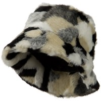 Bucket - Black White Faux Fur Patch Pattern Bucket