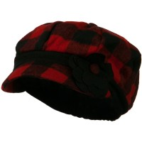 Newsboy - Red Flower Short Brim Newsboy Hat