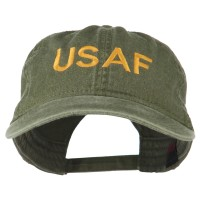 Embroidered Cap - Olive Green USAF Embroidered Washed Cap