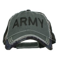 Embroidered Cap - Charcoal Black Army Embroidered Frayed Cap