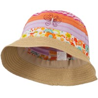 Bucket - Orange Pink Bucket Hat Embroidered Flowers Butterflies