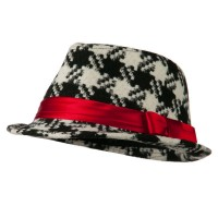 Fedora - Black White Girls Acrylic Houndstooth Fedora