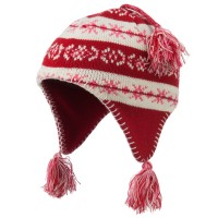 Beanie - Red Girl's Knit Helmet