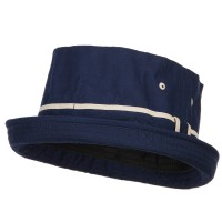 Bucket - Navy Khaki Big Size Striped Fisherman Bucket Hat