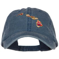Embroidered Cap - Hawaii Flag Map Washed Cap | Free Shipping | e4Hats.com