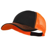 Ball Cap - Black Neon Orange Heavy Cotton with Neon Mesh Cap