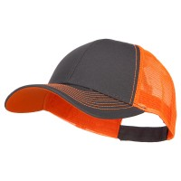Ball Cap - Dk Grey Neon Orange Heavy Cotton with Neon Mesh Cap