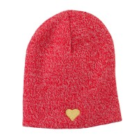 Beanie - Red Heart Embroidered Short Beanie
