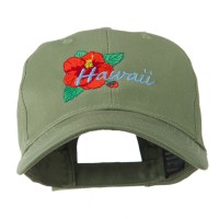 Embroidered Cap - Olive Hawaii hibiscus Embroidery Cap
