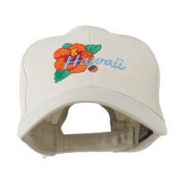 Embroidered Cap - Stone Hawaii hibiscus Embroidery Cap