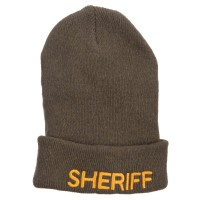 Beanie - Olive Sheriff Embroidered Oversize Beanie