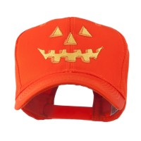 Embroidered Cap - Orange Pumpkin Face Embroidered Cap