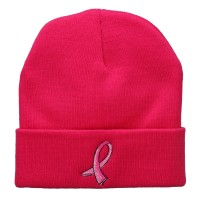 Beanie - Hot Pink Breast Cancer Logo Embroidered Beanie