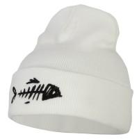 Long Beanie - Fish Bone Embroidery Long Beanie