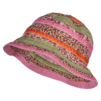 Bucket - Multi Girl's Calico Striped Bucket Hat