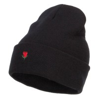 Beanie - Black Mini Rose Embroidered Long Beanie | Coupon Free | e4Hats.com